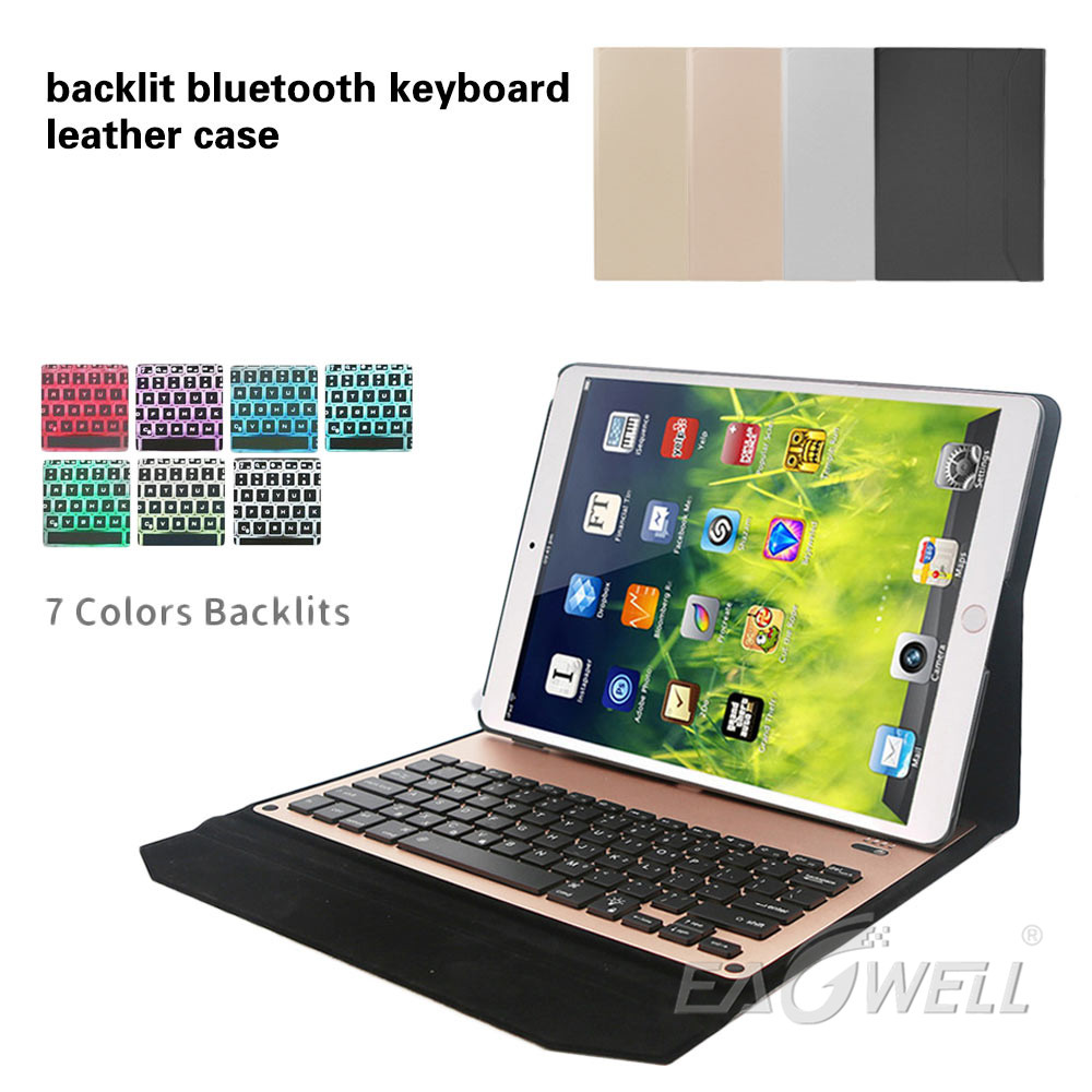 Фотография Eagwell Adjustable Seven Color Backlight Aluminum Bluetooth Keyboard Case Cover For Apple iPad Pro 12.9 2015 2017