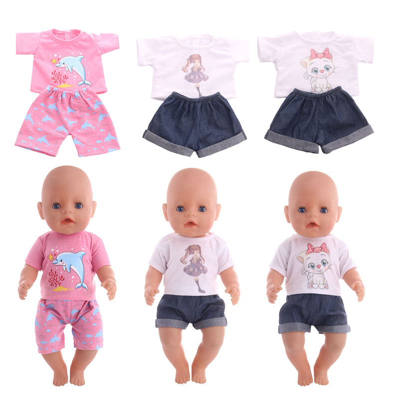 3 Patterns T-shirt+Denim Shorts Fit 18 Inch American&43 CM Baby Doll Clothes Accessories,Girl's Toys,Generation,Birthday G