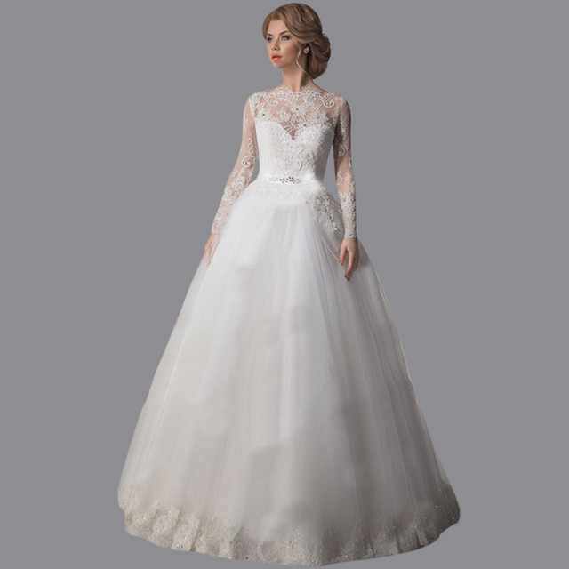 Vestidos De Noiva Ball Gown Tulle Bridal Dress Sweep Train Long Sleeves Wedding  Dresses Ebay With 4572fce0212b