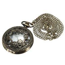 Retro Steampunk pocket watch quartz chain watch watches pendant necklace gift