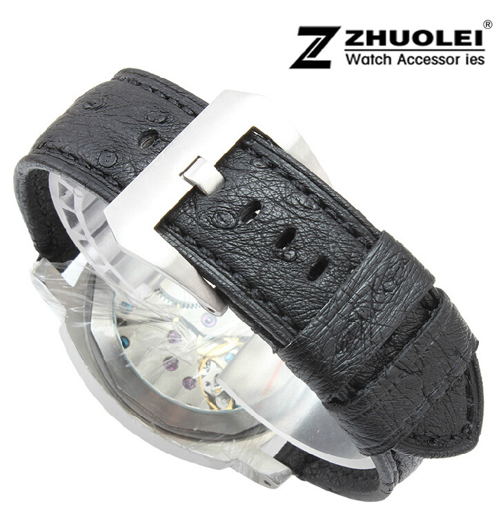Watch band 24mm New Mens high quality Black Genuine Real Ostrich Skin Leather Watchbands Strap Bracelets new mens genuine leather watch strap bands bracelets black alligator leather 18mm 19mm 20mm 21mm 22mm 24mm without buckle