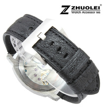 Watch band 24mm New Mens high quality Black Genuine Real Ostrich Skin Leather Watchbands Strap Bracelets