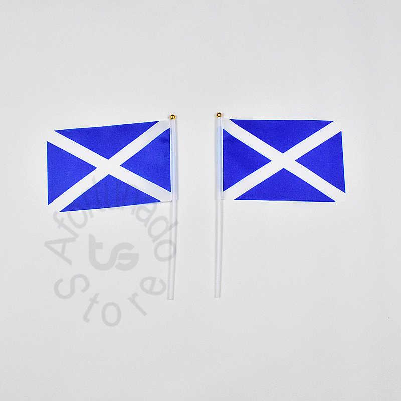 Шотландский 14*21 см 10 штук флаг бесплатная доставка Развевающийся Флаг шотландский национальный флаг для встречи, парад, вечерние Висячие, украшения