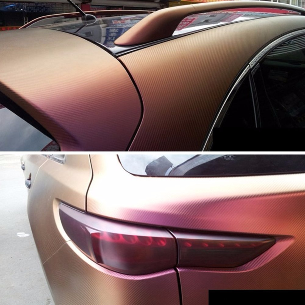 1.52*15 M Carrosserie Autocollant emballage de voiture en vinyl Autocollant hameleon film vinyle en fibre de carbone Wrap Changement de Couleur autocollants pour voiture