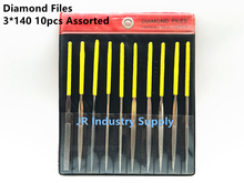 10pcs Assorted Best Diamond Needle File Set Sharpening 3x140mm Jeweler Diamond Gringding Carving Craft Tool Metal Glass Stone