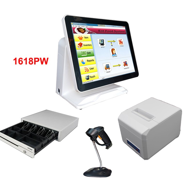 цены  China POS System 15 Inch Touch Screen Resistive Flat Screen POS Machine With Thermal Printer And Cash Drawer For Lottery