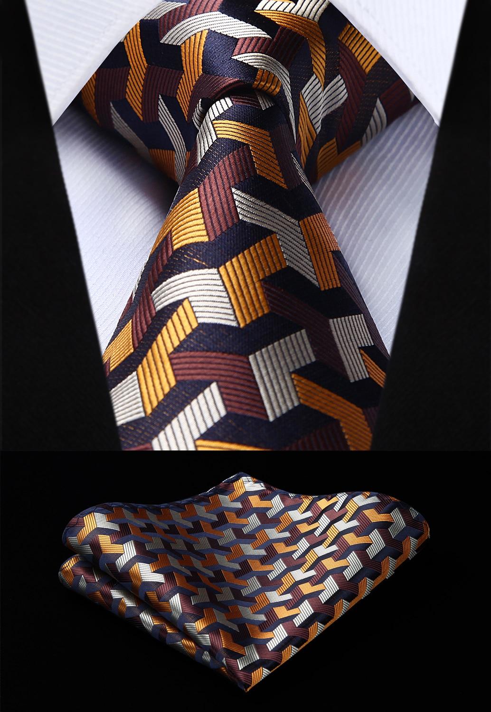 Party Wedding Classic Fashion Pocket Square Tie Woven Men Brown Tie Plaid Necktie Handkerchief Set#TG804Z8S