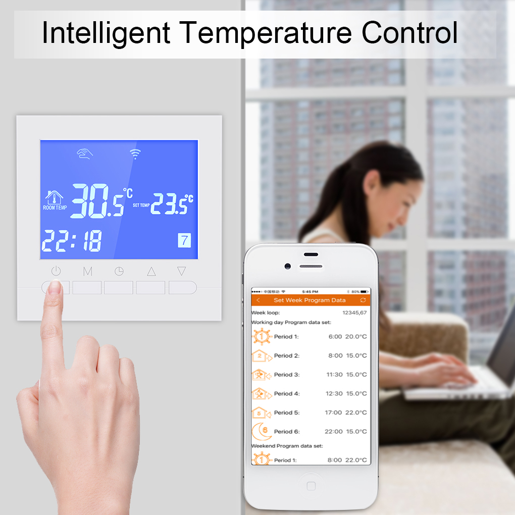 2018 New Programmable Wifi Thermostat Electric /Water Floor Heating Thermostat LCD Display Smart WIFI Temperature Controller valve radiator linkage controller weekly programmable room thermostat wifi app for gas boiler underfloor heating