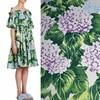 Width 140cm Green Leaves Hydrangea Print Pure Cotton Plush Fabric For Dress Tissus Tecidos A Metro