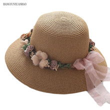 2019 Hot Sale Korean Straw Sun Hats For Women Cap Anti-UV Beach Summer Floppy Cap For Ladies Flower Straw Hat With A Wide Brim solid color wide brim sun straw hats women bowknot beach cap summer ladies anti uv sunscreen floppy hat casual travel fold caps