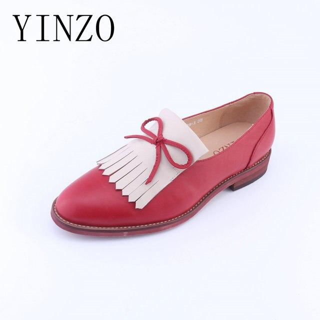 e746d77d9c9 YINZO flat kasual sepatu kulit Asli sepatu wanita rumbai antik round toe  oxford sepatu untuk wanita