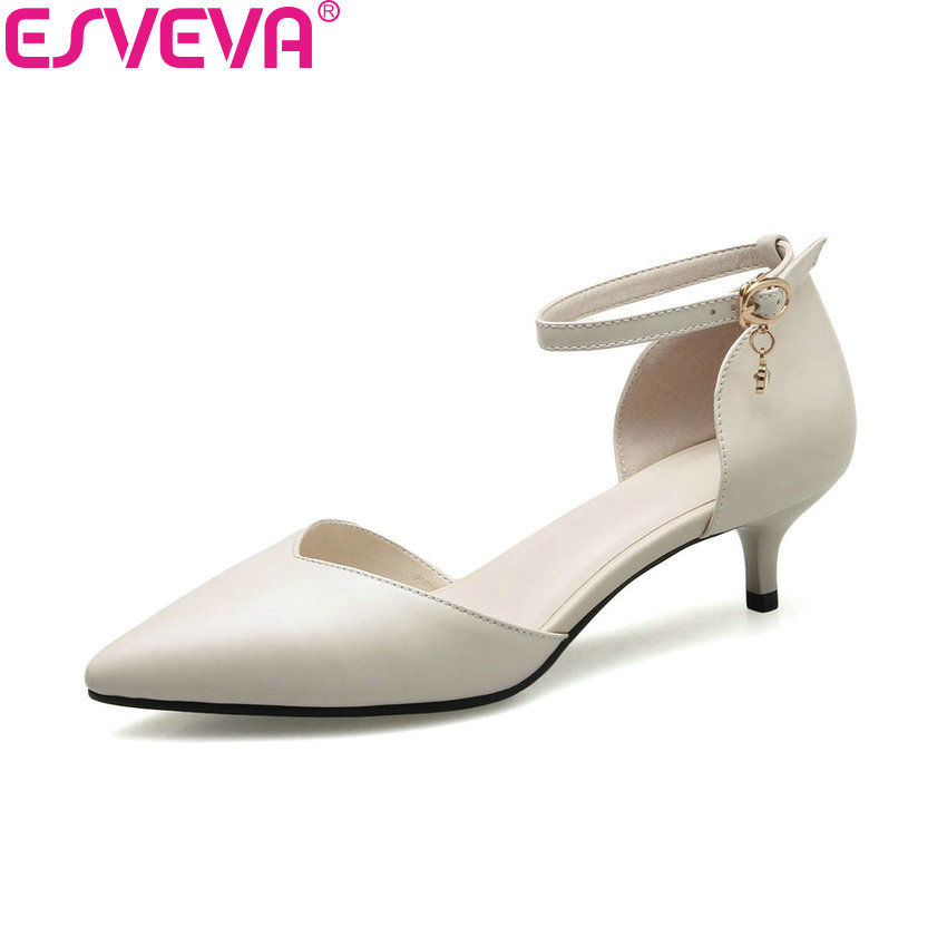 ESVEVA 2018 Women Pumps Two-piece Buckle Strap Cow Leather PU Kid Suede PU Thin Med Heels Pointed Toe Women Shoes Size 34-41
