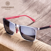 כתום COLOSSEIN קלאסית תווית גברים אופנה משקפי שמש מסגרת מרובעת מתכת עדשות מקוטבות TAC אפור כחול חדש סגנון גברים משקפיים