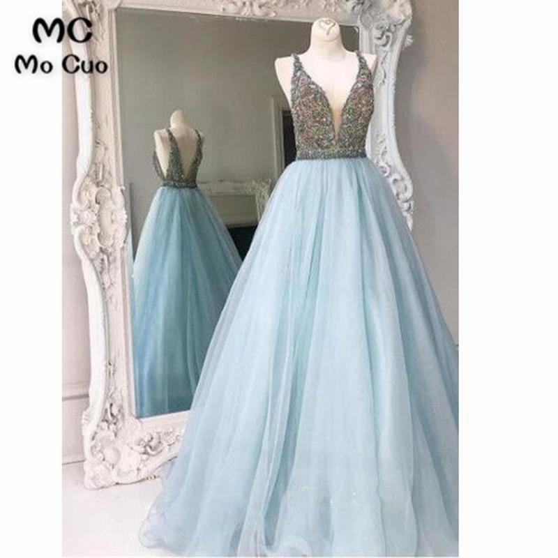 2018 Double V-Neck A-Line   Prom     dresses   Long Crystals Beaded Vestidos de fiesta   dress   for graduation Tulle Formal Evening   Dress