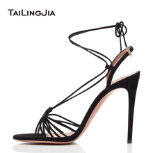 Women Summer Cross Tied High Heel Stiletto Sandals Heels Open Toe Black Lace Up Fish Mouth Sexy Woman Shoes 2018 Large Size 46