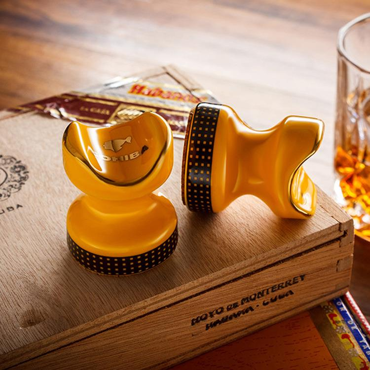 Mini Yellow/black High Quality colored drawing Showing Portable Cigar Ashtray Holder Cigar holder