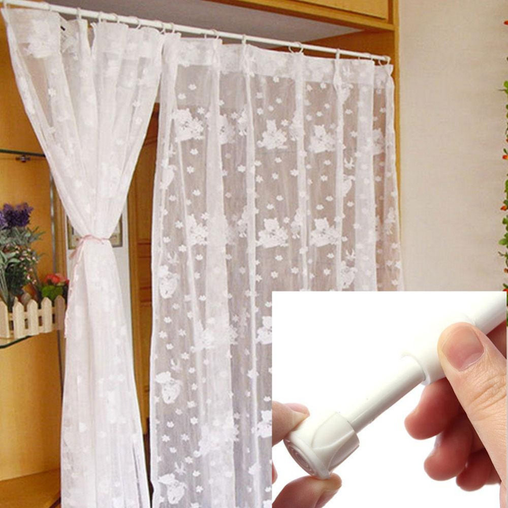 Shower curtain with valance - 70 124cm Extending Telescopic Rod Pole Spring Net Shower Valance Curtain Rod China