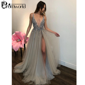 Image 2 - Promworld Backless Grey Evening Dresses 2020 Sexy Prom Dresses with Slit Rhinestone Tulle See Through Long Evening Gowns