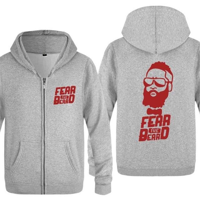 Mens Hoodie James Harden Fear The Beard Printed Hoodies Men Cotton With Zips Winter Fleece Long Sleeve Men's Jackets Sweatshirt