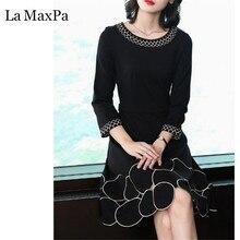 32b8314ec2 Haftowane O Szyi sukienka na imprezę Dla Kobiet Czarny I Biały Klasyczny  Hepburn Trendy Mini Sukienki Letnie Wiosna Nowy Dorywcz.