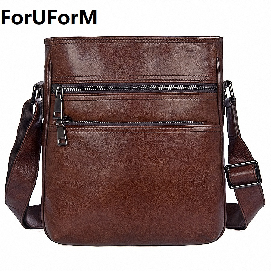 2017 Autumn New Genuine Leather Men's Shoulder Bag Small Male Messenger Bags For Men Cross Body Bag iPad Bags Portfolio LI-1991