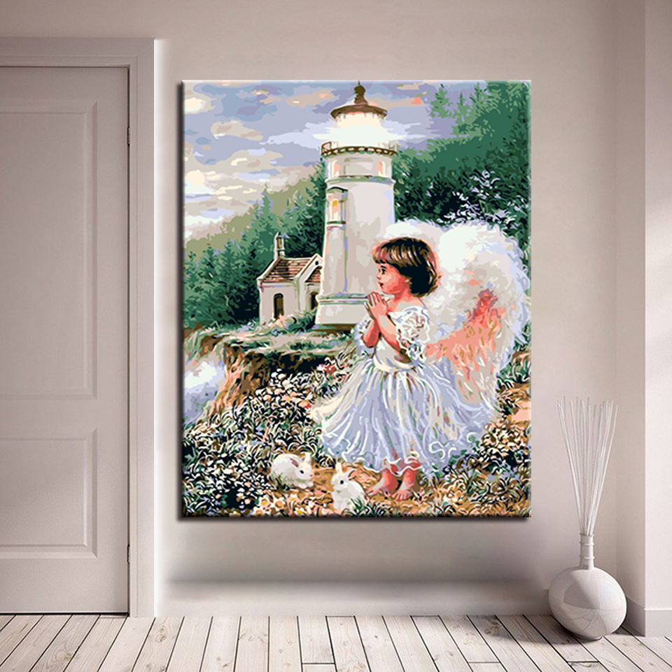 Frame DIY By Numbers Kits Coloring Acrylic Angel White Rabbit Paint On Canvas Fashion Cuadros Picture For Home Decor Painting