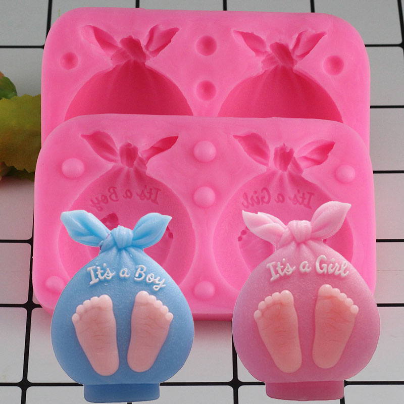 Mujiang 3D Baby Gift Bags Candle Silicone Soap Mold Baby Party Fondant Cake Decorating Tools Chocolate Candy Gumpaste Moulds