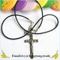 Antique/vintage banhado a prata liga de metal católica rosário crucifixo cruz, colar do rosário religioso com cabo de cera
