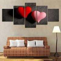 Rot Rosa Herz Modularen Bilder Wohnkultur Leinwand Wandkunst Ungerahmt 5 Stücke Malerei Wohnzimmer Dekoration HD Druck