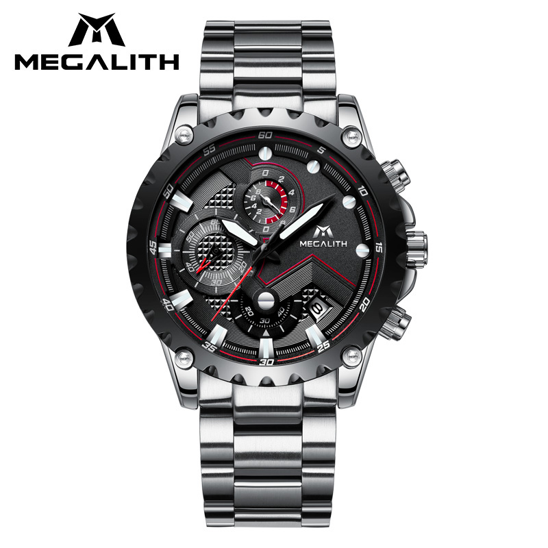 Sports Watch Men MEGALITH Waterproof Chronograph Black Stainless Steel Strap Quartz Wrist Watches For Men's Analogue Watch Clock стоимость
