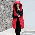 Nueva Llegada de 2016 Mujeres Del Invierno Del Otoño Chaleco Chaleco Femenino Sin Mangas de la Chaqueta Con Capucha de Algodón Chaleco Largo Femenino Negro Rojo Azul Rosa