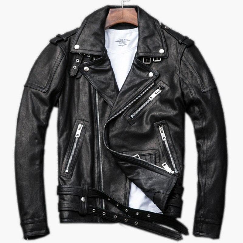 Jacket Diagonal Genuine Coat Sheepskin Biker-Leather Motorcycle XXXL Short Black Zipper