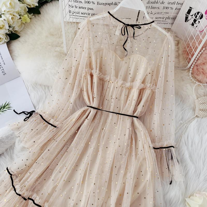 HISUMA spring autumn new women Star sequins gauze flare sleeve lace-up Princess dress female elegant o-neck mesh puff dresses 16
