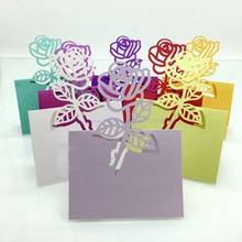 Лидер продаж 100 шт. лазерная резка роза Бумага Имя держатель для карт Праздничная Свадебная вечеринка Стол Вино еда гость Имя Место карты пользу украшения