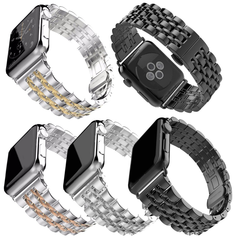 Silver Stainless Steel Band Strap for Apple Watch Butterfly Buckle Business Replacement iWatch Strap Fit for Watchband 38mm 42mm | Fotoflaco.net