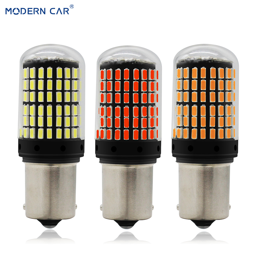 MODERN CAR W5W <font><b>T20</b></font> S25 T25 20 Full 20W Car Turning Signal Lamp <font><b>Led</b></font> Tail Lamp 144SMD 3014 <font><b>LED</b></font> Auto <font><b>Rear</b></font> Reverse <font><b>Bulb</b></font> 12V image