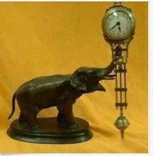 25 см Высота старых ручной работы красивые часы маятник Латунь Статуя Слона ремесла Инструменты Свадебные украшения латунь