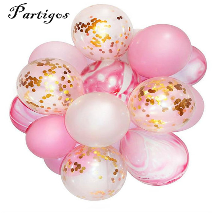 12pcs/lot 12inch unicorn agate marble clear Latex Balloons gold confetti Birthday wedding decoration Helium Supplies baby shower