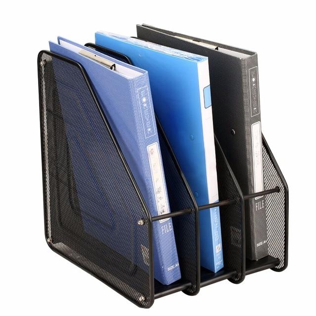 Metal Mesh Desktop Basket Resume File Folder Holders Detachable Magazine  Display Storage Organizer With 3 Compartment  Resume Holders