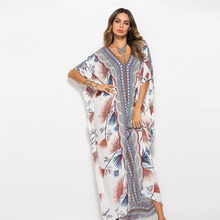 dress mujer viscose long maxi dress kaftan sexy V-neck fashion print beach party vestidos summer batwing sleeve robe dress цена