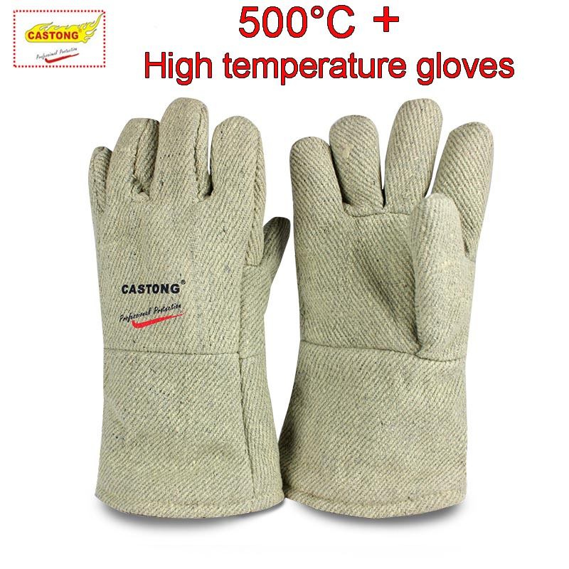 CASTONG 500 degree + High temperature gloves Para-aramid Anti-scald safety gloves 34cm High temperature resistant gloves цена