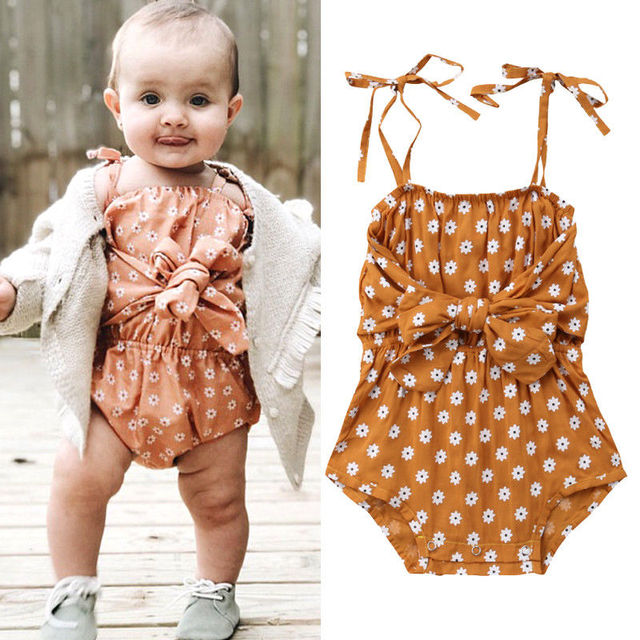 8f05f64918d Summer Newborn Baby Girl Romper Cute Toddler Girl Floral Bowknot Sleeveless Romper  Jumpsuit Clothes0-24months