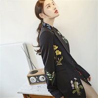 High Quality Embroidery Floral Black Long Women Blazers Casual Notched Single Breasted Slim Women Suit Jackets