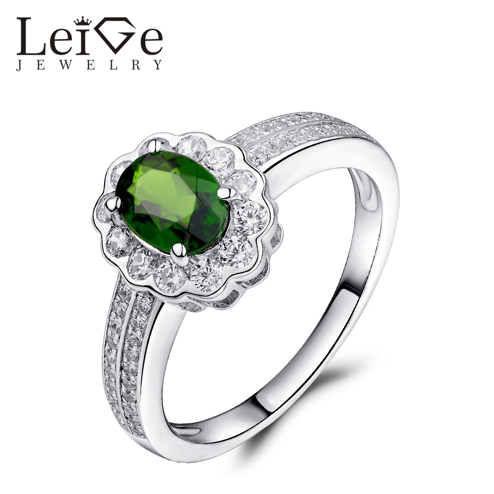 Leige Jewelry Classic Natural Diopside Ring Green Gemstone Silver Oval Cut  Wedding Promise Rings for Women Christmas Gift