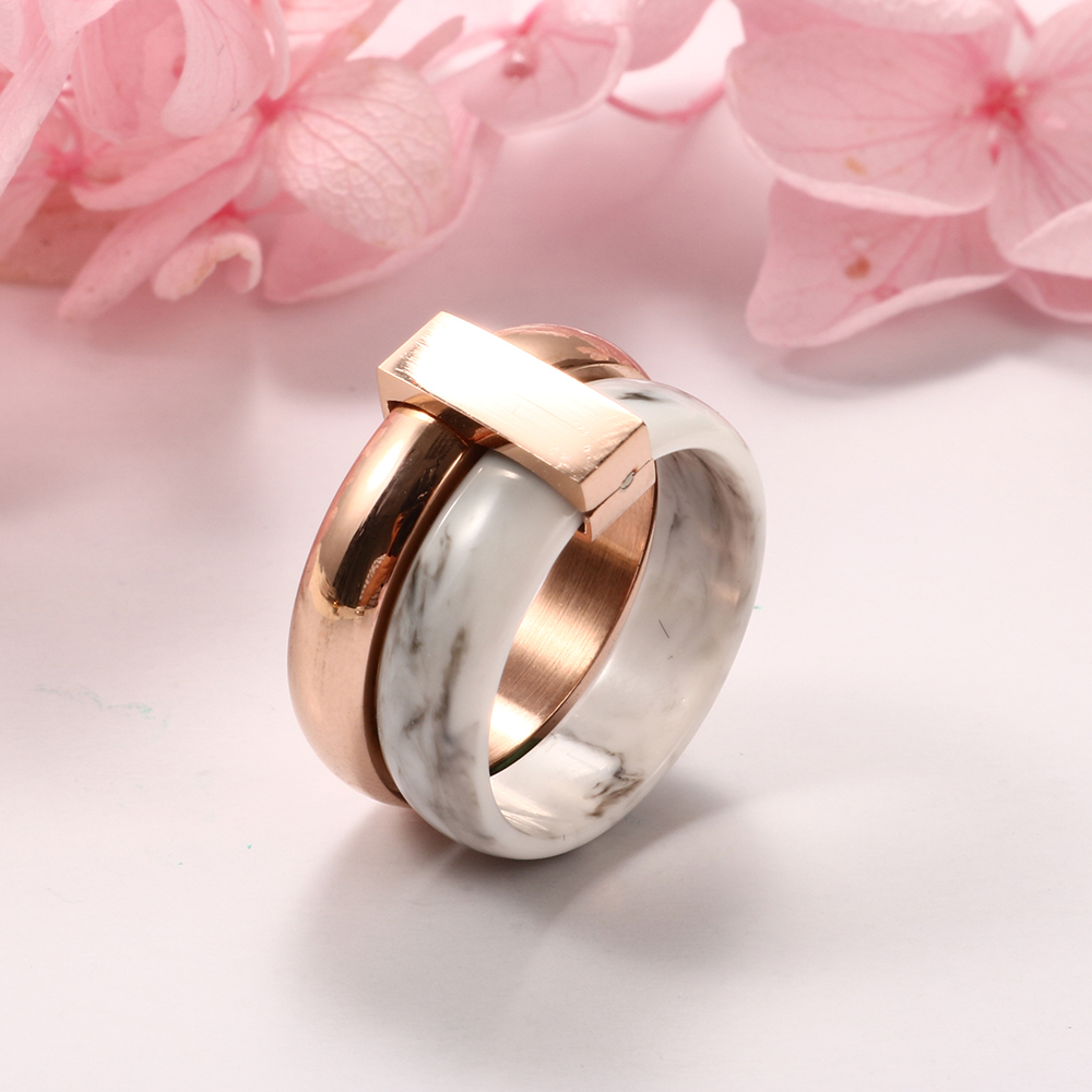 Fashion Two Layer Move Ceramic Ring Stainless Steel Rings for Women ...