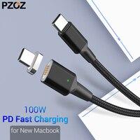 PZOZ Тип C к USB C Магнитный кабель для нового MacBook Pro huawei Matebook 100 W PD быстрое магнитное зарядное устройство USB-C быстрое заряднеое устройство