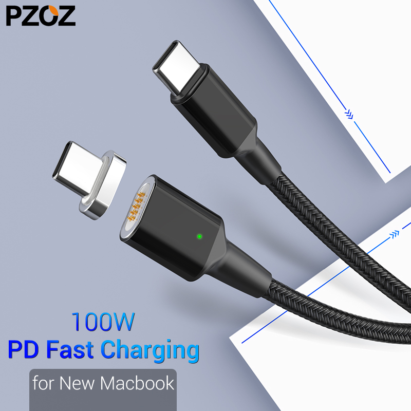 PZOZ Type C to USB C Magnetic Cable For New MacBook Pro Huawei Matebook 100W PD Quick Magnet Charger USB-C Fast Charger CablesPZOZ Type C to USB C Magnetic Cable For New MacBook Pro Huawei Matebook 100W PD Quick Magnet Charger USB-C Fast Charger Cables