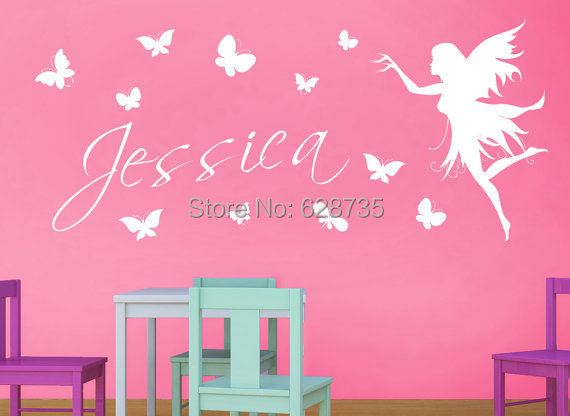 Personalized name fairy with Butterflies Vinyl Wall Decal Stickers , baby girl name stickers fairy Free shipping