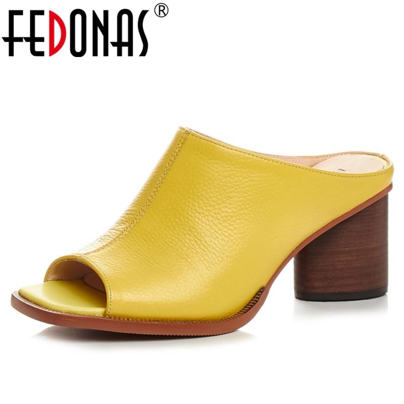 FEDONAS Sommer Frauen Aus Echtem Leder Sandalen Hohe Qualität Komfortable Leder Mit Hohen Absätzen Atmungs Sandalen Dame Schuhe Frau-in Mittlere Absätze aus Schuhe bei  Gruppe 1