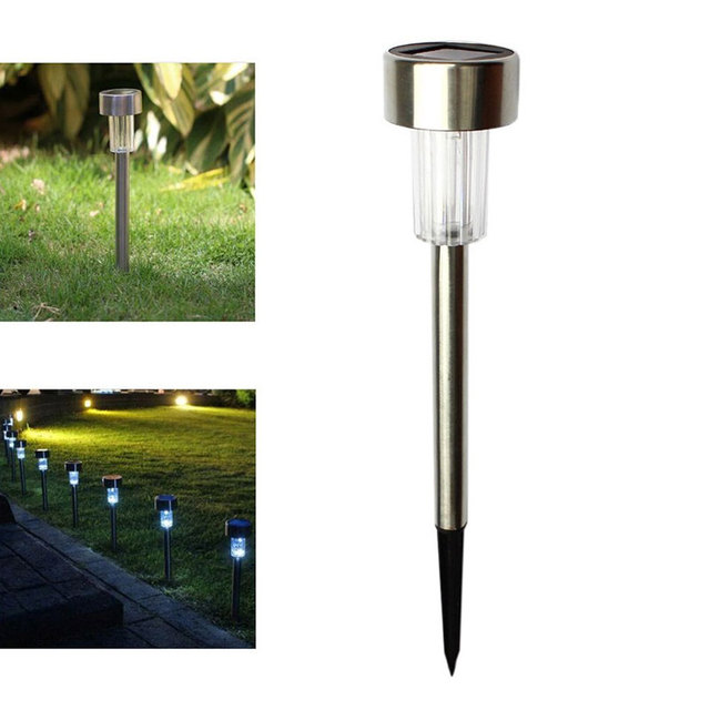 1pcs outdoor led solar landscape path light garden stainless steel yard lamp 6 colorful abs solar